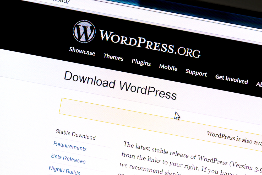 Wordpress website on a computer screen. WordPress is a free and open source blogging tool.